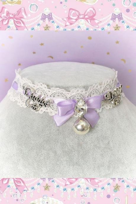 Choker Necklace , Kitten Play Collar ,Ivory Lace Little Bow Bell Daddys Girl Lilac Purple Bling Rhinestone , pastel Lolita Jewelry DDLG