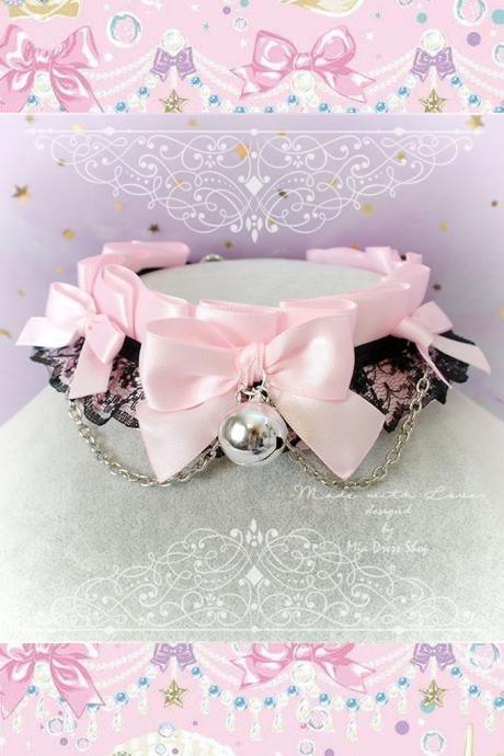 Choker Necklace ,Kitten Pet Play Collar, Daddys Girl DDLG Baby pink Black Lace Bow Bell Chain, Jewelry pastel Lolita BDSM Fairy Kei