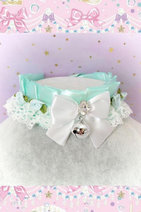 Choker Necklace ,Kitten Play Collar Seafoam Mint Green White Lace Ruffles Bow Bell Mini Rose Flower Bling Rhinestone Lolita DDLG Daddys Girl