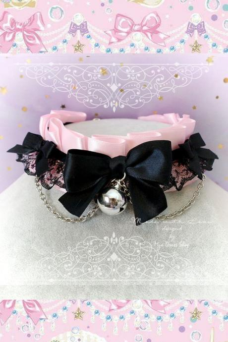 Choker Necklace ,Kitten Pet Play Collar, Daddys Girl DDLG Baby pink Black Lace Bow Bell Chain , Goth Jewelry pastel Lolita BDSM Fairy Kei