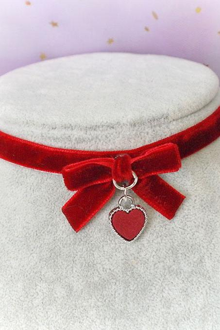 Necklace Choker Red Velvet Bow Red Heart Handmade , Lolita cute kitten play collar neko collar DDLG jewelry