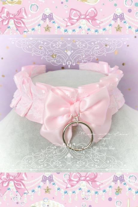 Choker Necklace ,Kitten Pet Play Collar BDSM DDLG Baby Pink White Lace Ruffles Bow O Ring Daddys Girl Kawaii pastel goth Fairy Kei Lolita