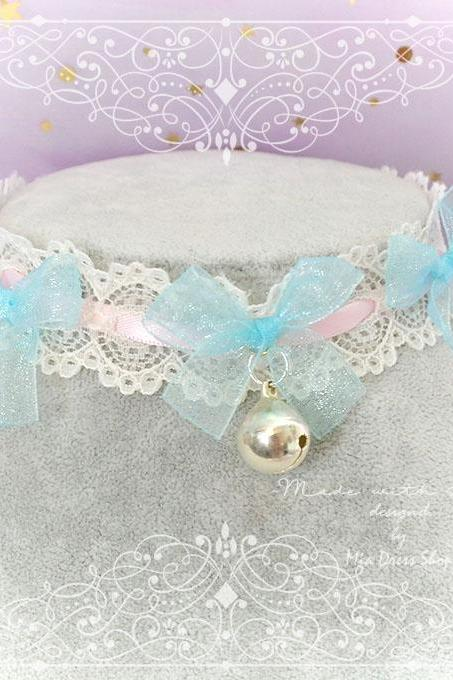 Choker Necklace ,Kitten Play Collar ,Pink Lace Aqua Bow Bell Dreamy , pastel Lolita Jewelry Fairy Kei DDLG Cute Kawaii
