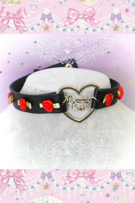 Choker Necklace , BDSM Daddys Girl Black Faux Leather Heart Red Rose Roses, Kitten Play Collar pastel goth Lolita Neko DDLG