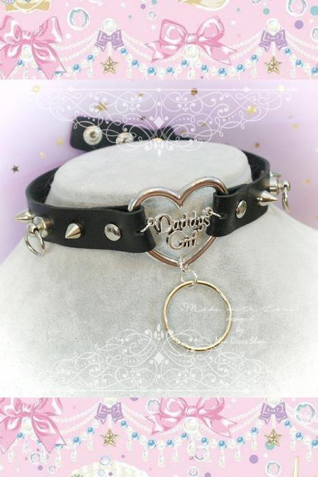Choker Necklace , BDSM Daddys Girl Black Faux Leather Heart Spikes O Ring ,Kitten Play Collar, pastel goth Lolita rocker DDLG