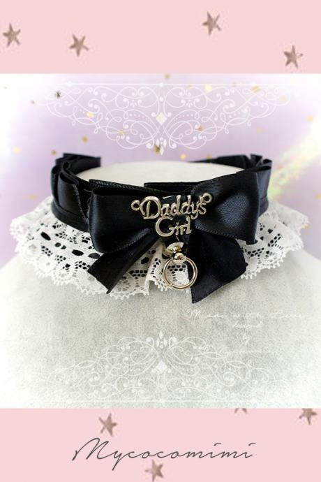Choker Necklace ,Kitten Play Collar, DDLG Black White Lace Ruffles Bow O Ring Tug Proof ,Daddys Girl Jewelry Maiden Lolita Rule Play Gothic