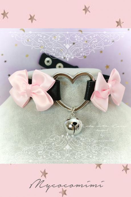 Choker Necklace ,Kitten Play Collar , Black Faux Leather Heart Bell Baby Pink Bow , BDSM DDLG Kitty play Lolita choker Daddys Girl