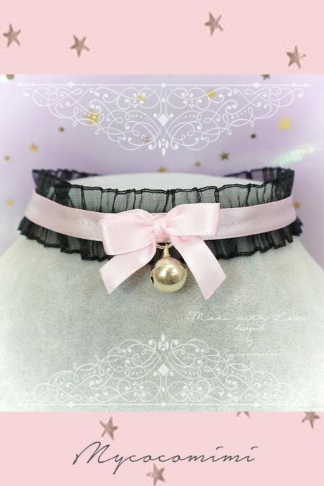 Choker Necklace ,Kitten Play Collar Necklace, Black Lace Ruffles Pink Bow Bell , pastel Lolita Maiden Jewelry DDLG Cuta Kawaii