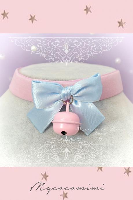 Choker Necklace ,Kitten Play Collar , Daddys Girl Baby Pink Velvet Baby Blue Bow Bell ,Lolita ,DDLG, Adult Baby Fairy Kei Jewelry