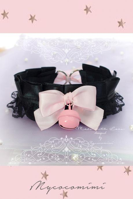 Choker Necklace ,Kitten Play Collar , Black Satin Lace Baby Pink Bow Bell Lolita Gothic, BDSM DDLG Daddys Girl Fairy Kei Jewelry