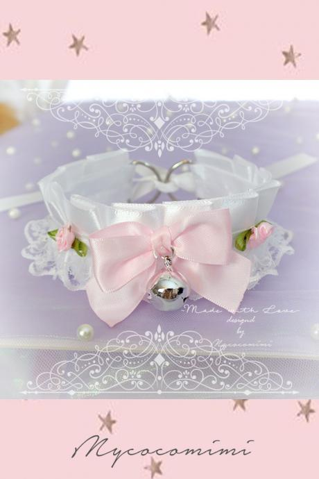 Choker Necklace ,Kitten Play Collar , White Satin Lace Baby Pink Bow Bell Rose, Lolita Gothic, DDLG Daddys Girl Fairy Kei Lolita Jewelry