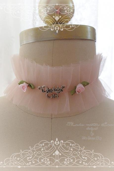 Lingerie Collar , Kitten Play Collar Costume , Choker Necklace Blush Baby Pink Soft Tulle Lace Daddys Girl Rose, Jewelry Lolita Neko DDLG