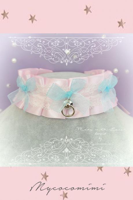 Choker Necklace, Kitten Pet Play Day Collar , BDSM DDLG Pink Satin White Lace Ruffles Blue Bow, Tug Proof O Ring, Daddys Girl Kawaii