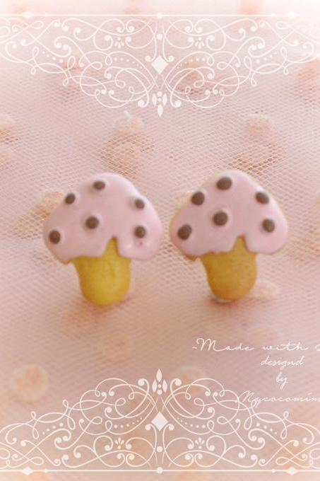 Pink Mushroom Ice Cream Stud Earrings ,Clip On No Pierce Earrings, Lolita Cute Kawaii Sweet Jewelry, Bridesmaid Gift