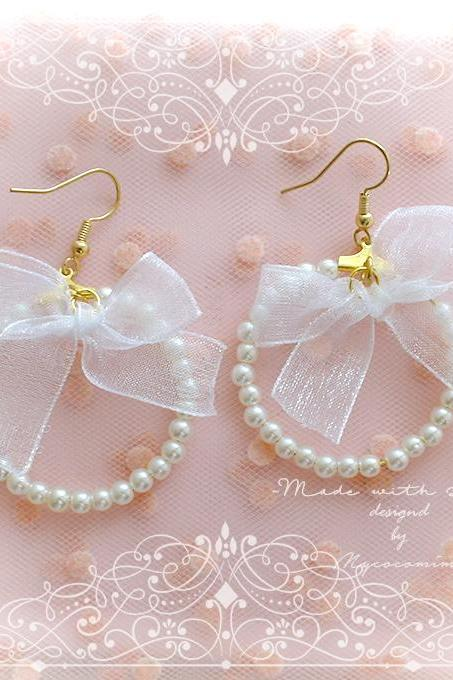 Elegance White Bow Pearl Hoop Dangle Earrings ,Clip On No Pierce Earrings, Lolita Cute Kawaii Sweet Baby Girl Jewelry