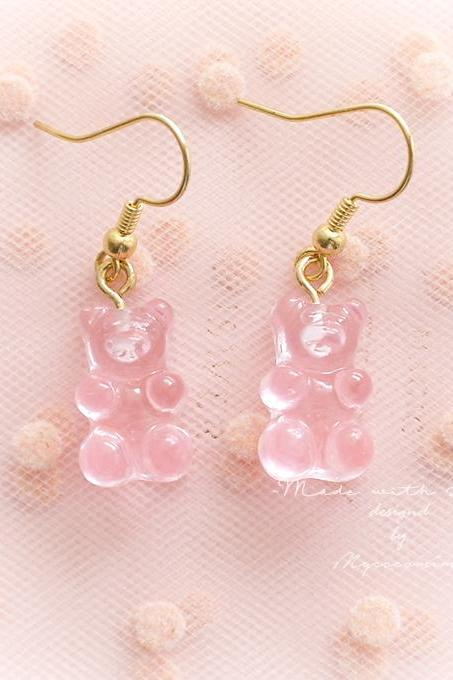 Gummy Bear Candy Dangle Earrings, Clip On No Pierce Earrungs , Baby Pink , Cutie Adult Baby Lolita Kawaii Baby Girl Fairy Kei Jewelry