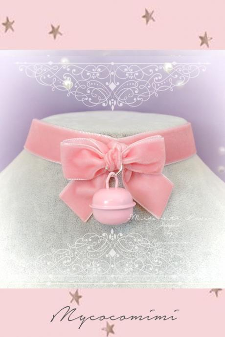 Choker Necklace ,Kitten Play Day Collar , Daddys Girl Baby Pink Velvet Bow Bell ,DDLG Lolita , Adult Baby Fairy Kei Jewelry