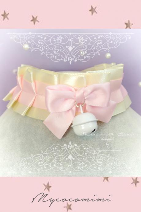 Choker Necklace, Kitten Pet Play Day Collar ,DDLG Beige Baby Pink Satin Bow White Bell , Pastel Goth Adult Baby Jewelry Daddys Girl Kawaii