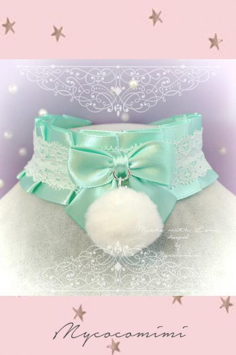 Choker Necklace ,Kitten Pet Play Collar DDLG Mint Green Satin White Lace Ruffles Bow Faux Fur Ball Rabbit Tail ,Daddys Girl Kawaii pastel