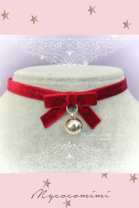 Necklace Choker Red Velvet Bow with Bell Handmade Punk Rock , Lolita cute kitten play collar neko collar DDLG Christmas jewelry