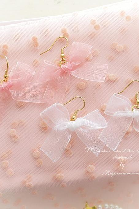 Sweetheart Simple Lovely Bow Pink White Dangle Earrings ,Clip On No Pierce , Lolita Cute Kawaii Sweet DDLG Baby Girl Jewelry