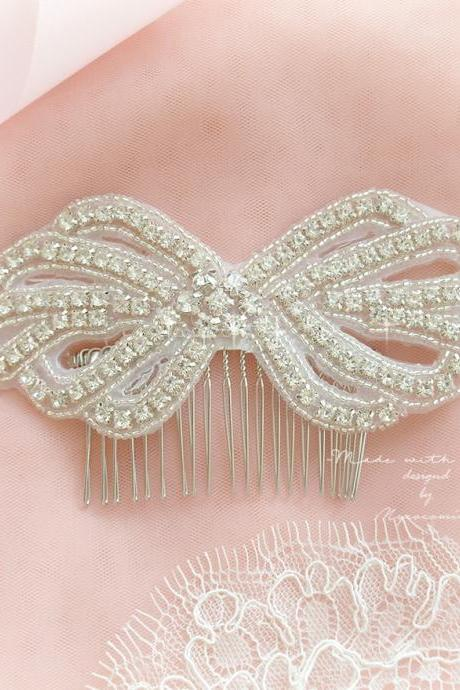 Luxury Crystal Rhinestone Bow Hair Comb Bridal Rustic Wedding Headpiece Accessories Headress Romantic Great Gatsby