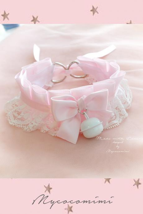 Choker Necklace ,Kitten Pet Play Collar DDLG Baby pink White Lace Bow White Bell ,Daddys Girl Jewelry ,pastel Lolita ,Fairy Kei Kawaii