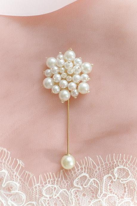 Handmade Pearl Ball Flower Men's Boutonniere Lapel Pin wedding,hat pin,tie pin brooch accessories Buttonhole pin