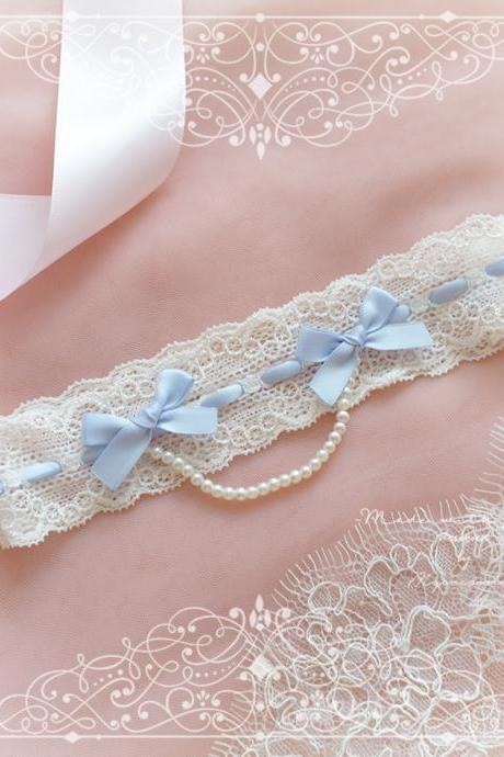 Ivory lace garter, Something Blue Bow Garter ,Pearl Chain , Victorian Bridal lingerie Wedding Garter Belt Prom Honeymoon Keepsake Toss