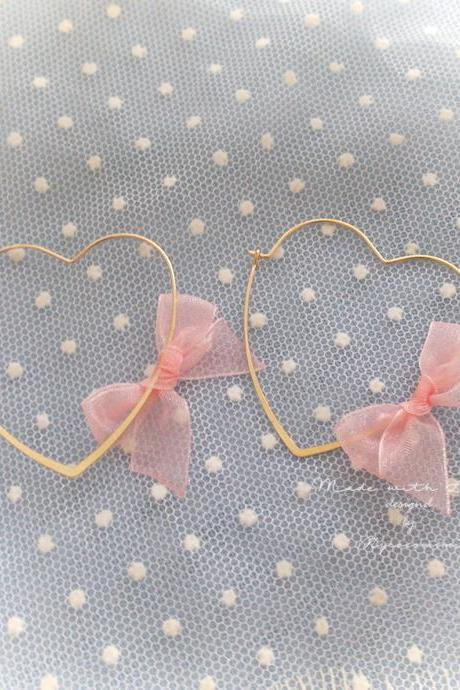 Sweetheart Gold Heart Hoop Baby Pink Bow Earrings , Cute Kawaii Sweet DDLG Daddys Baby Girl Fairy Kei Jewelry