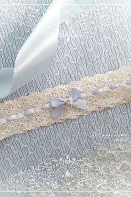 Ivory lace garter, Something Blue Garter ,Rhinestone bow, Victorian Bridal lingerie Wedding Garter Belt Prom Honeymoon Keepsake Toss