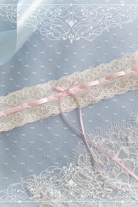 Ivory lace garter, Baby Pink Rhinestone bow, Victorian Bridal lingerie Wedding Garter Belt Prom Honeymoon Keepsake Toss
