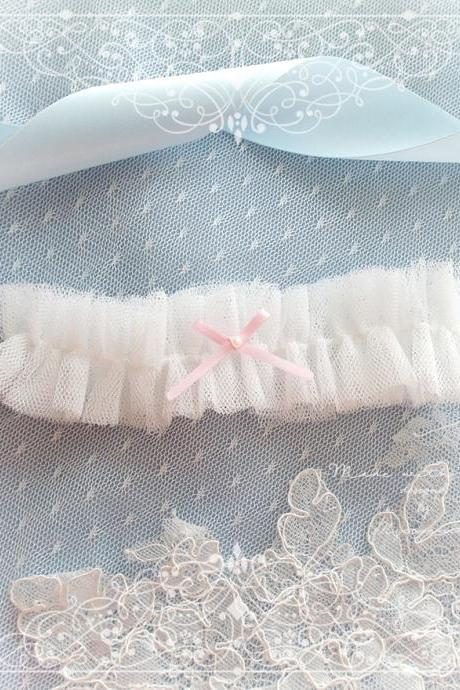 White Tulle Wedding Garter ,Baby Pink Pearl bow ,Ballerina Ruffles Tutu Bridal Lingerie Bling, Keepsake Toss Cute Single Garter