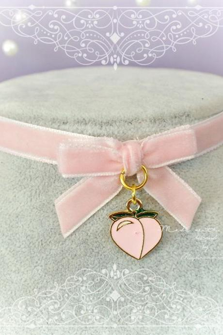JUST PEACHY Choker Necklace ,Baby Pink Velvet Bow Peach Heart , Fairy Kei pastel Lolita Kawaii Neko DDLG Adult Baby