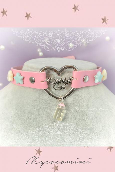 Daddys Girl Choker Necklace Collar Pink Faux Leather Heart Little Stars Milk Bottle , Adult Baby , Kitten Play Collar pastel Lolita DDLG