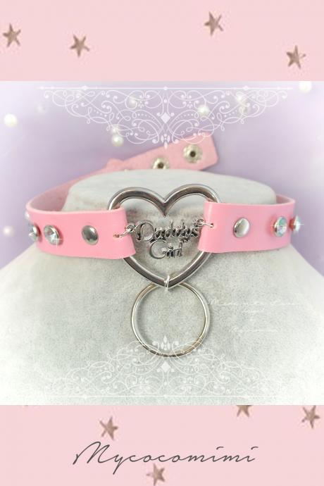 DDLG Daddys Girl Choker Necklace Pink Faux Leather Heart Bling Bling Rhinestone O Ring ,Luxury Kitten Play Collar Fairy Kei Lolita BDSM