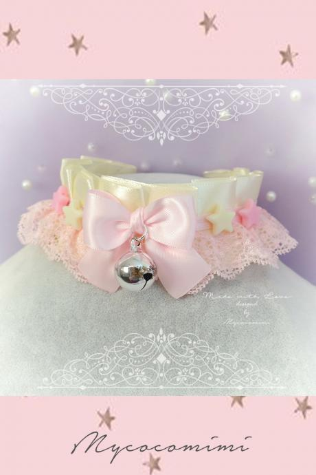 DDLG Daddys Girl Choker Necklace Pink Faux Leather Heart Bling Bling Rhinestone O Ring ,Luxury Kitten Play Collar Fairy Kei Lolita BDSMChoker Necklace , Princess Kitten Play Collar ,DDLG Beige Baby Pink Lace Ruffles Bow Bell Little Stars ,DDLG Jewelry pastel Lolita Fairy Kei