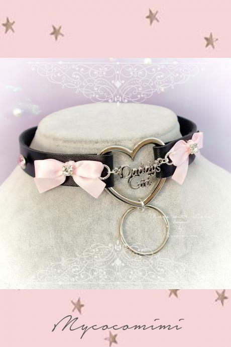 Choker Necklace , BDSM Daddys Girl Black Faux Leather Heart Pink Bow Pink Rhinestone bling , Kitten Play Collar pastel goth Lolita DDLG