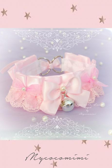 Choker Necklace , Kitten Pet Play Collar DDLG Baby pink Lace Bow Moon Star , Jewelry pastel Lolita Daddys Girl BDSM Fairy Kei