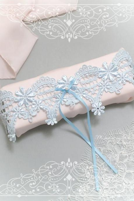 Luxury Light Blue Lace Pearl Something Blue Bow Garter , Bridal Lingerie Wedding Honeymoon Keepsake Toss Luxury Wedding garter