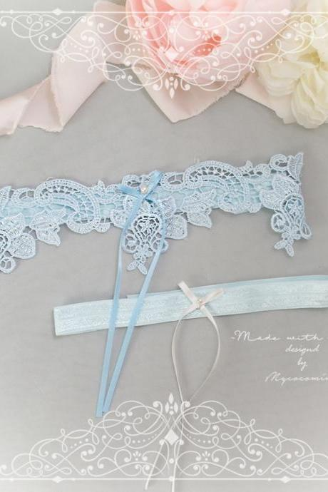 Light Blue Lace Something Blue Garter Set Pearl White Bow , Bridal Lingerie Wedding Honeymoon Keepsake Toss Luxury Wedding garter