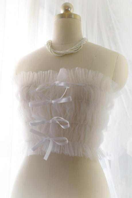 Angel Romantic Fairy Corset Mesh Tube Top White Tulle Sheer Bralette Top ,Bridal Wedding Lingerie Coverup DDLG Clothing