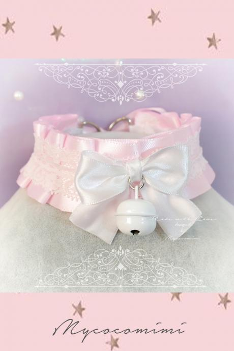 Choker Necklace ,Kitten Play Collar , Pink Satin White Lace Bow Bell , BDSM DDLG Adult Baby Daddys Girl Fairy Kei Lolita Cute Jewelry