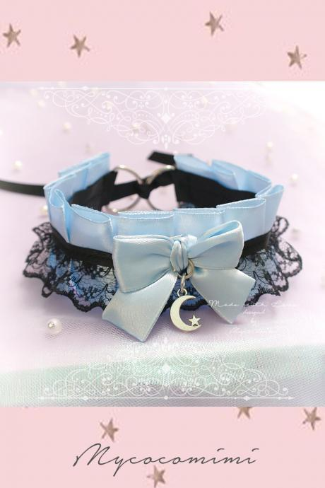 Choker Necklace ,Kitten Play Collar , BDSM DDLG Baby Blue Satin Black Lace Bow Crescent Moon Star , Jewelry Daddys Girl, Adult Baby