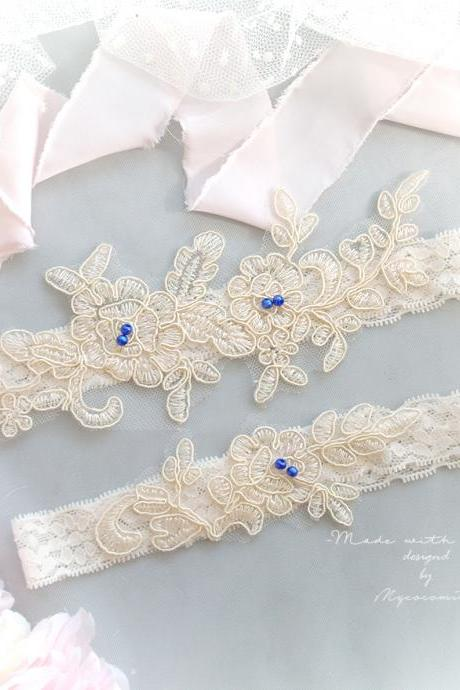 Romantic Cream Beige Ivory Lace Garter Set, Navy Blue Bead Lace Embroidery applique Bridal Wedding Lingerie Garter Belt Honeymoon Keepsake