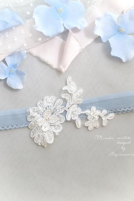 Slim White Flower Lace Wedding Garter,Something Blue Antique Blue , Simply Skinny Garter , Bridal Bride Wedding Lingerie Keepsake Toss