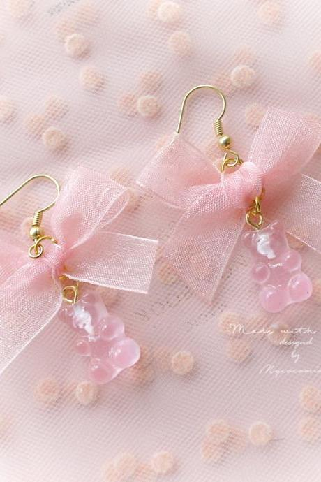 Baby Pink Bow Gummy Bear Dangle Earrings or Clip On No Pierce ,Lolita Cute Kawaii Sweet DDLG Daddys Baby Girl Fairy Kei Jewelry