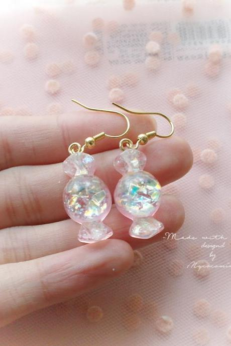 Holographic Candy Baby Pink Dangle Earrings / Clip On No Pierce Earrings , Cutie Adult Baby Lolita Kawaii Baby Girl Fairy Kei Jewelry
