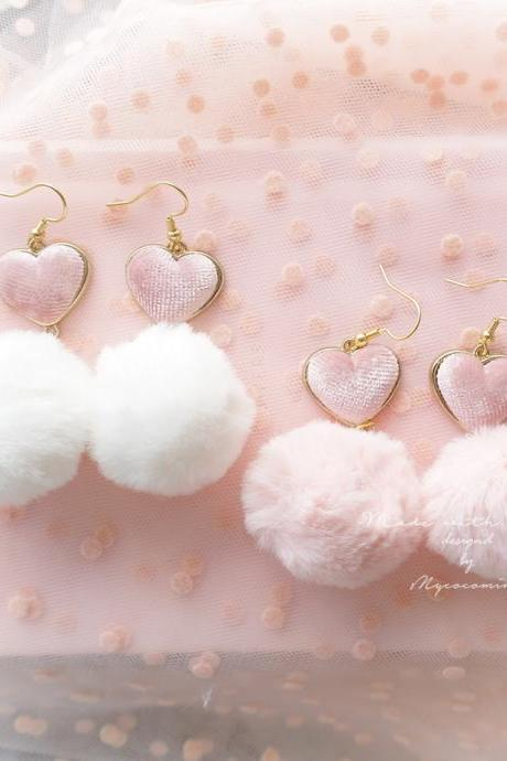 DANGLE / CLIP ON No Pierce, Baby Pink White Soft Faux Fur Ball Pom Pom Velvet Heart Earrings , Cute Kawaii Sweet Ddlg Daddys Jewelry