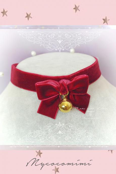 Choker Necklace ,Kitten Play Collar, Burgundy Red Velvet Bow Gold Bell , pastel goth Lolita Neko DDLG Adult Baby Daddys Girl